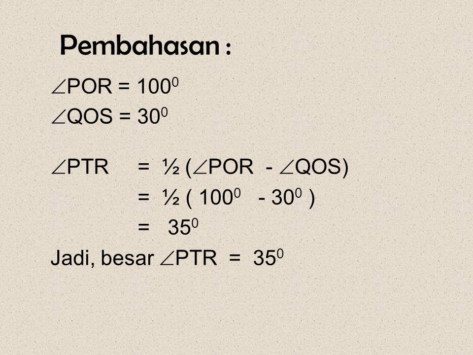 Soal-14 Pada gambar disamping, besar  POR = 100 0 dan  QOS = 30 0. Hitunglah besar  PTR. PQ R S T O