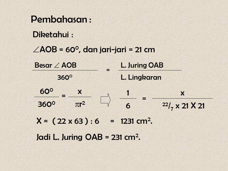 Soal - 2 O A B 60 0 Pada gambar disamping, panjang jari-jari = 21 cm,  AOB = 60 0. Hitunglah: a.L.juring OAB b. Pj. Busur AB