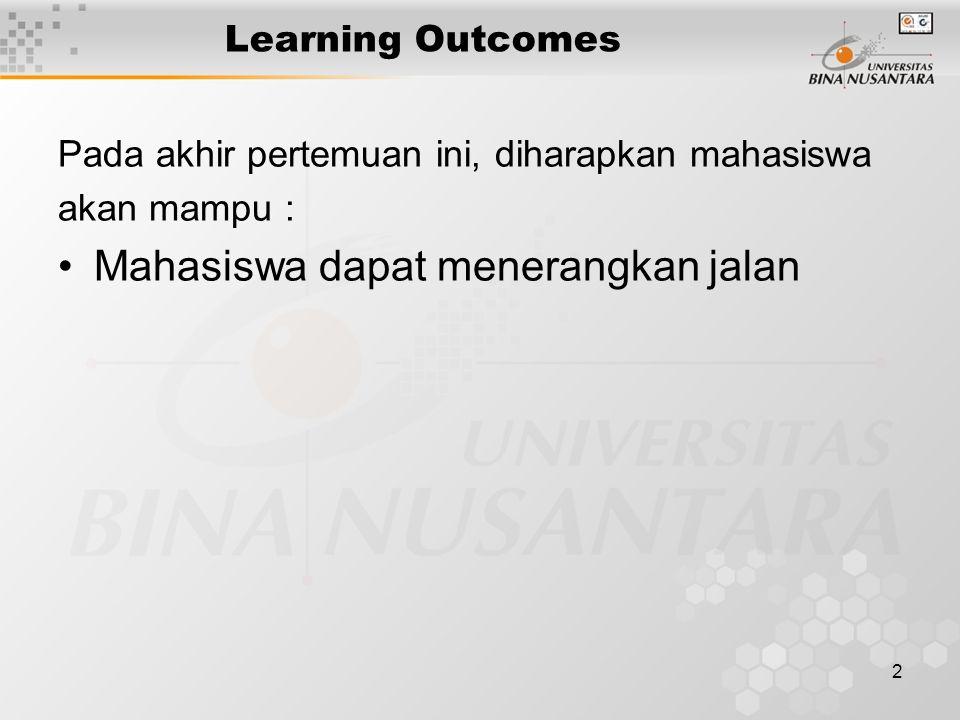 2 Learning Outcomes Pada akhir pertemuan ini, diharapkan mahasiswa akan mampu : Mahasiswa dapat menerangkan jalan