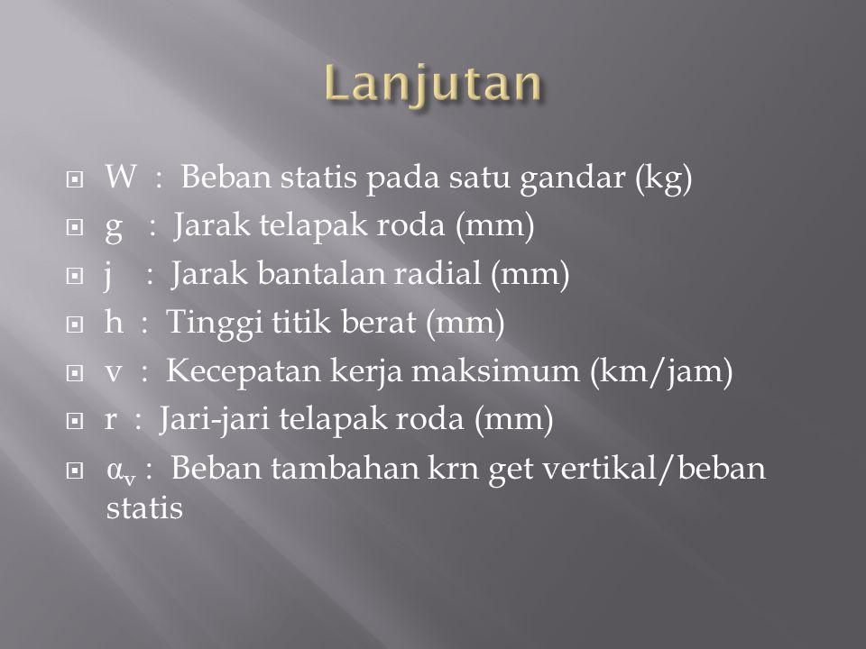  W : Beban statis pada satu gandar (kg)  g : Jarak telapak roda (mm)  j : Jarak bantalan radial (mm)  h : Tinggi titik berat (mm)  v : Kecepatan kerja maksimum (km/jam)  r : Jari-jari telapak roda (mm)  α v : Beban tambahan krn get vertikal/beban statis