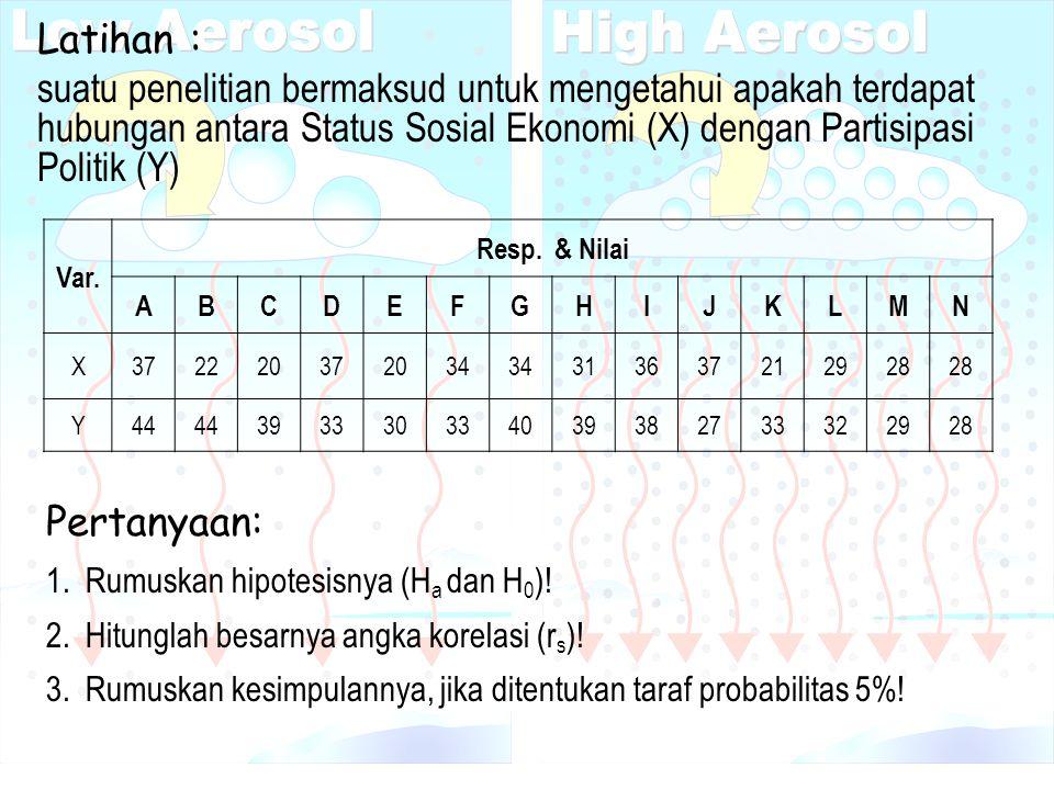 Latihan : suatu penelitian bermaksud untuk mengetahui apakah terdapat hubungan antara Status Sosial Ekonomi (X) dengan Partisipasi Politik (Y) Var. Re
