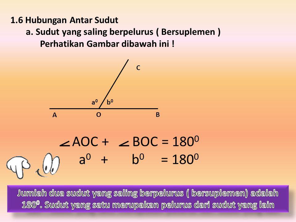 1.6 Hubungan Antar Sudut a. Sudut yang saling berpelurus ( Bersuplemen ) Perhatikan Gambar dibawah ini ! A OB C b0b0 a0a0 AOC + BOC = 180 0 a 0 + b 0