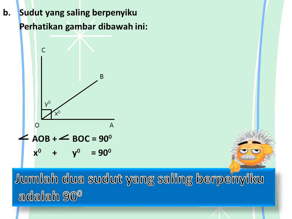 b.Sudut yang saling berpenyiku Perhatikan gambar dibawah ini: AOB + BOC = 90 0 x 0 + y 0 = 90 0 OA B C y0y0 x0x0 ⦟⦟