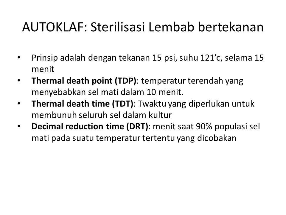 Pemanasan Basah Otoklaf: suhu 121 0 C, 1 atm 10-15 menit, dapat mematikan spora Merebus (boiling): waktu desinfeksi 15 menit setelah air mendidih sel-