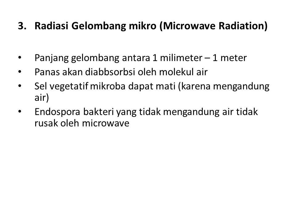 2.Radiasi Non ionisasi (Non Ionizing Radiation) Penggunaan sinar ultraviolet dengan panjang gelombang 220 - 290 nm dengan radiasi efektif 253,7 nm Men