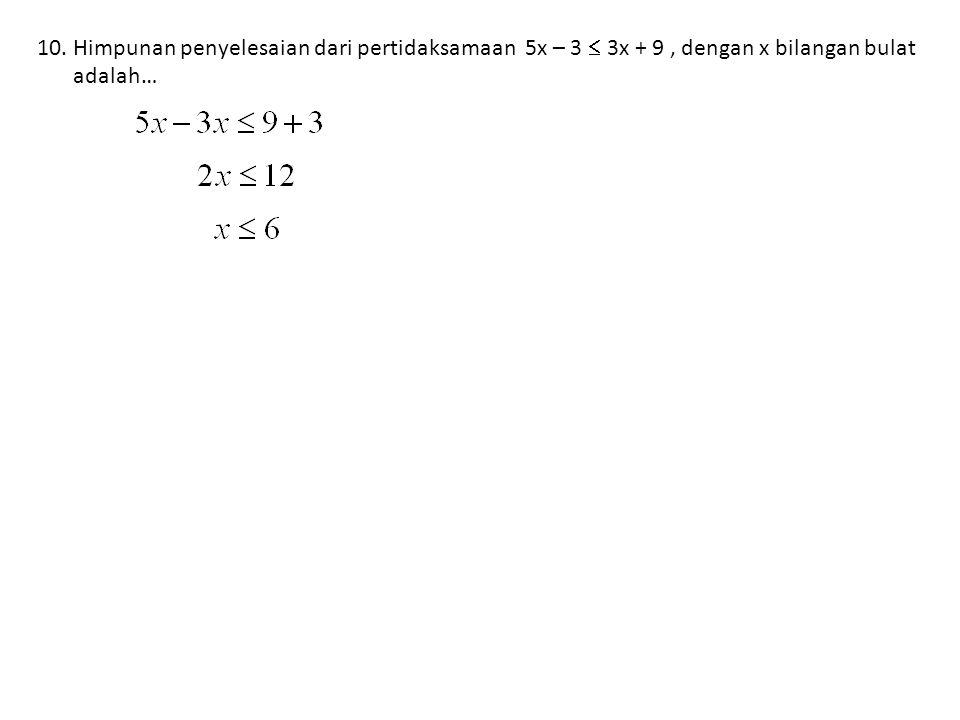 10.Himpunan penyelesaian dari pertidaksamaan 5x – 3  3x + 9, dengan x bilangan bulat adalah…