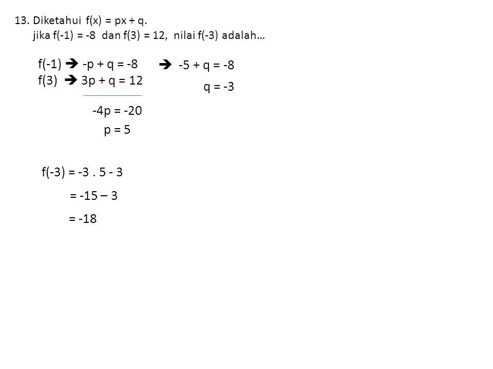 13.Diketahui f(x) = px + q.