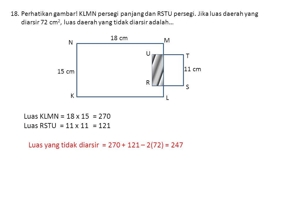 18.Perhatikan gambar.KLMN persegi panjang dan RSTU persegi.