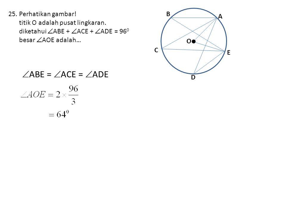 25.Perhatikan gambar.titik O adalah pusat lingkaran.
