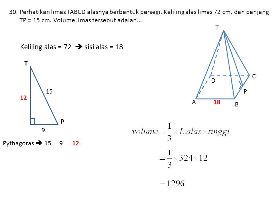 30.Perhatikan limas TABCD alasnya berbentuk persegi.