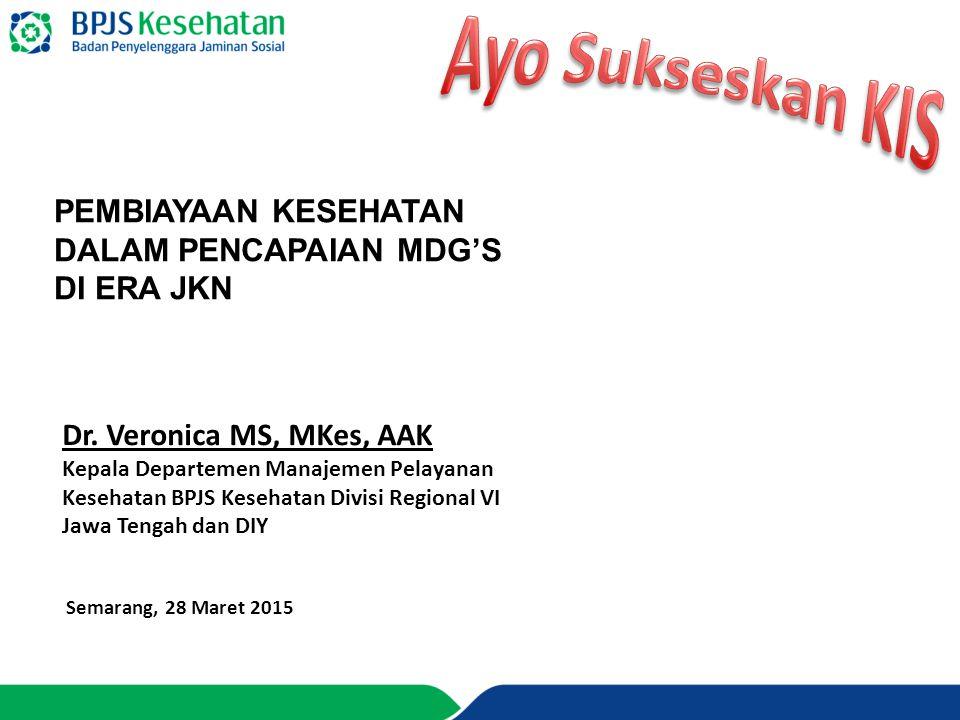 Dr. Veronica MS, MKes, AAK Kepala Departemen Manajemen Pelayanan Kesehatan BPJS Kesehatan Divisi Regional VI Jawa Tengah dan DIY Semarang, 28 Maret 20