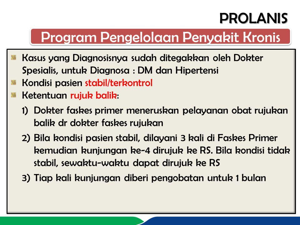 PROLANIS Kasus yang Diagnosisnya sudah ditegakkan oleh Dokter Spesialis, untuk Diagnosa : DM dan Hipertensi Kondisi pasien stabil/terkontrol Ketentuan