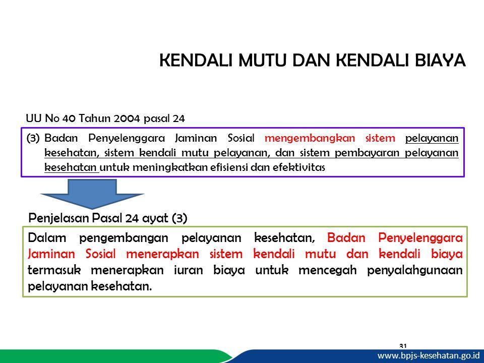 KENDALI MUTU DAN KENDALI BIAYA 31 UU No 40 Tahun 2004 pasal 24 Dalam pengembangan pelayanan kesehatan, Badan Penyelenggara Jaminan Sosial menerapkan s