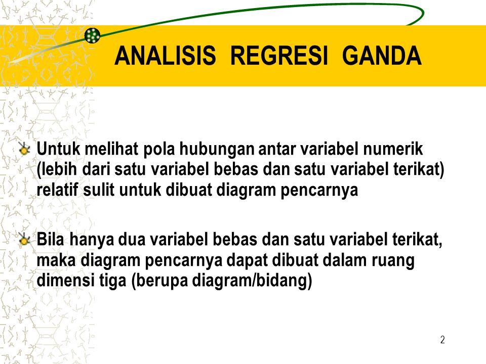 2 ANALISIS REGRESI GANDA Untuk melihat pola hubungan antar variabel numerik (lebih dari satu variabel bebas dan satu variabel terikat) relatif sulit u