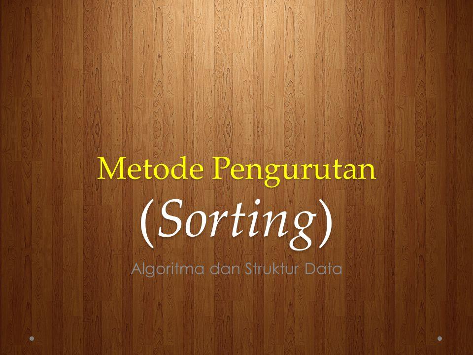 Pendahuluan Di dalam konsep Algoritma dan Struktur Data, dikenal istilah pengurutan (sorting).