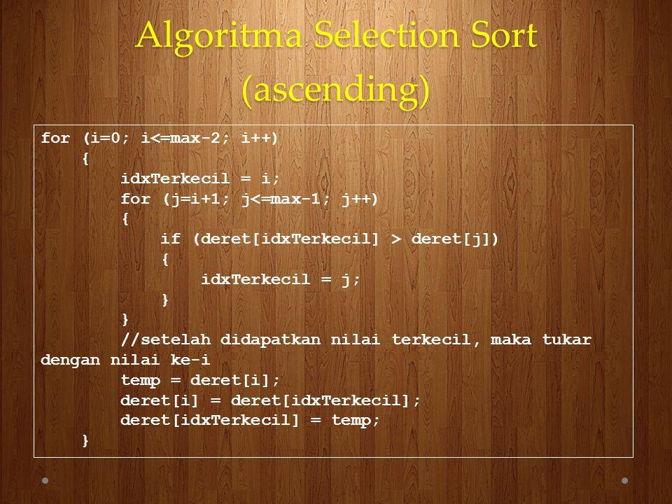 Algoritma Selection Sort (ascending) for (i=0; i<=max-2; i++) { idxTerkecil = i; for (j=i+1; j<=max-1; j++) { if (deret[idxTerkecil] > deret[j]) { idx