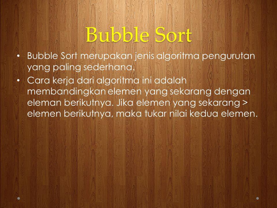 Contoh Bubble Sort ascending : 648105 648105468105468105468105468105461805461805461085461085461058461058 0 1 2 3 4 5 Selesai untuk tahap ke-1 Angka 8 akan berhenti pada indeks ke-5 (terakhir)