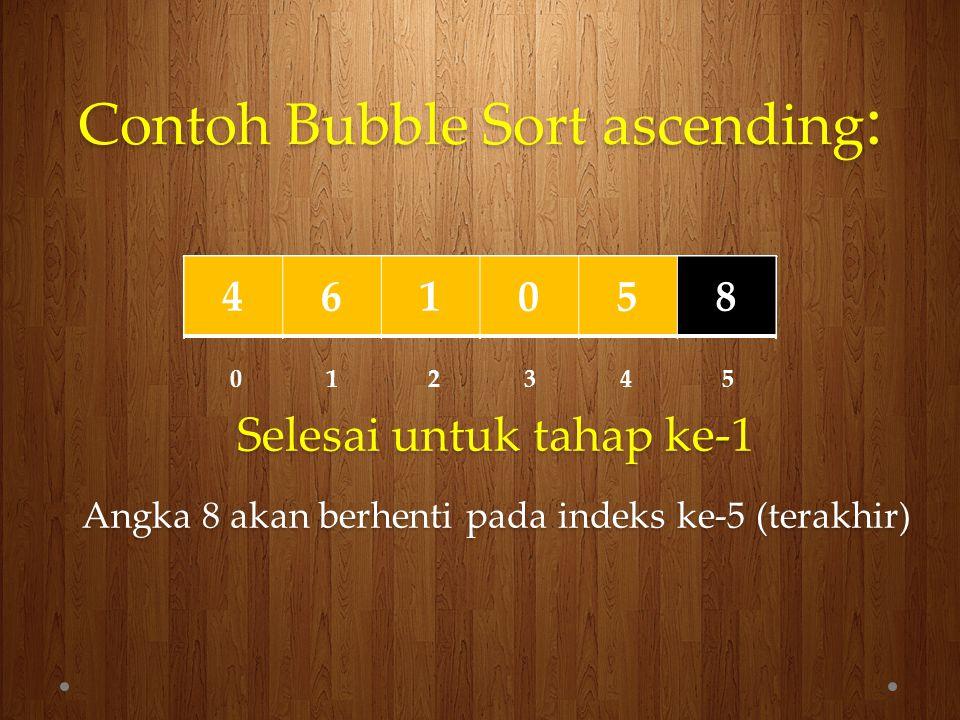 Contoh Bubble Sort ascending : 461058 0 1 2 3 4 5 Selesai untuk tahap ke-2 Angka 8 akan berhenti pada indeks ke-4 461058461058461058416058416058410658410658410568410568