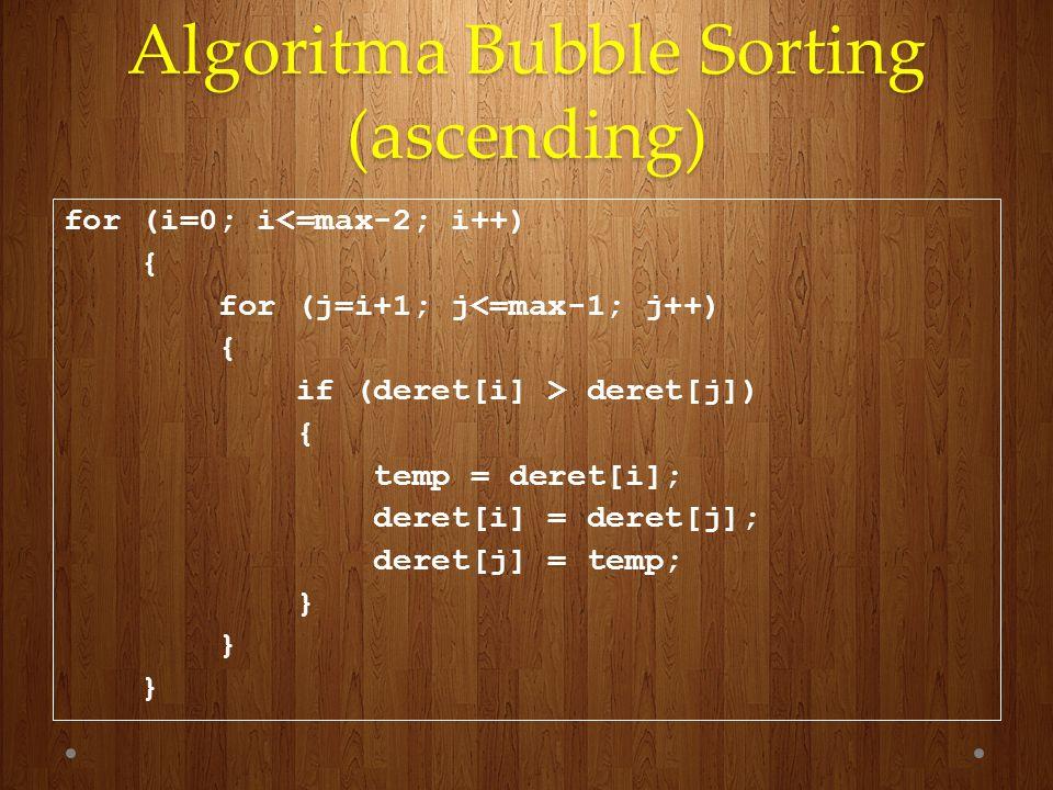 Algoritma Bubble Sorting (ascending) for (i=0; i<=max-2; i++) { for (j=i+1; j<=max-1; j++) { if (deret[i] > deret[j]) { temp = deret[i]; deret[i] = de