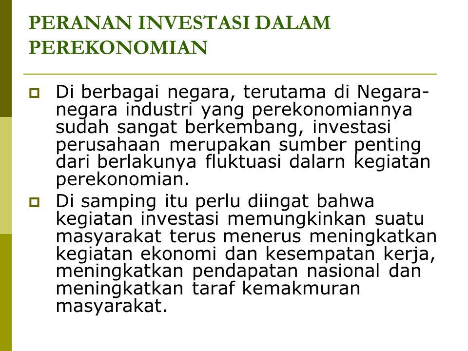 PERANAN INVESTASI DALAM PEREKONOMIAN  Di berbagai negara, terutama di Negara- negara industri yang perekonomiannya sudah sangat berkembang, investasi
