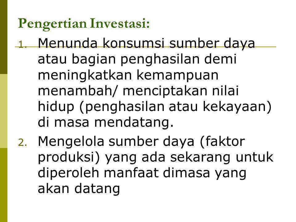 Pengertian Investasi: 1. Menunda konsumsi sumber daya atau bagian penghasilan demi meningkatkan kemampuan menambah/ menciptakan nilai hidup (penghasil
