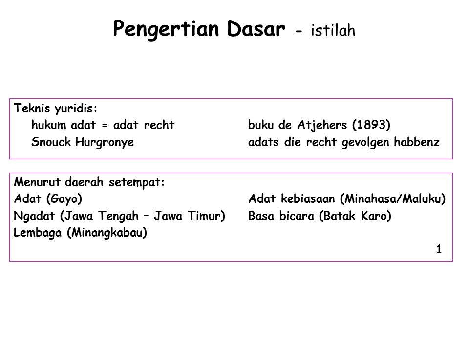 Pengertian Dasar - istilah Teknis yuridis: hukum adat = adat rechtbuku de Atjehers (1893) Snouck Hurgronye adats die recht gevolgen habbenz Menurut da
