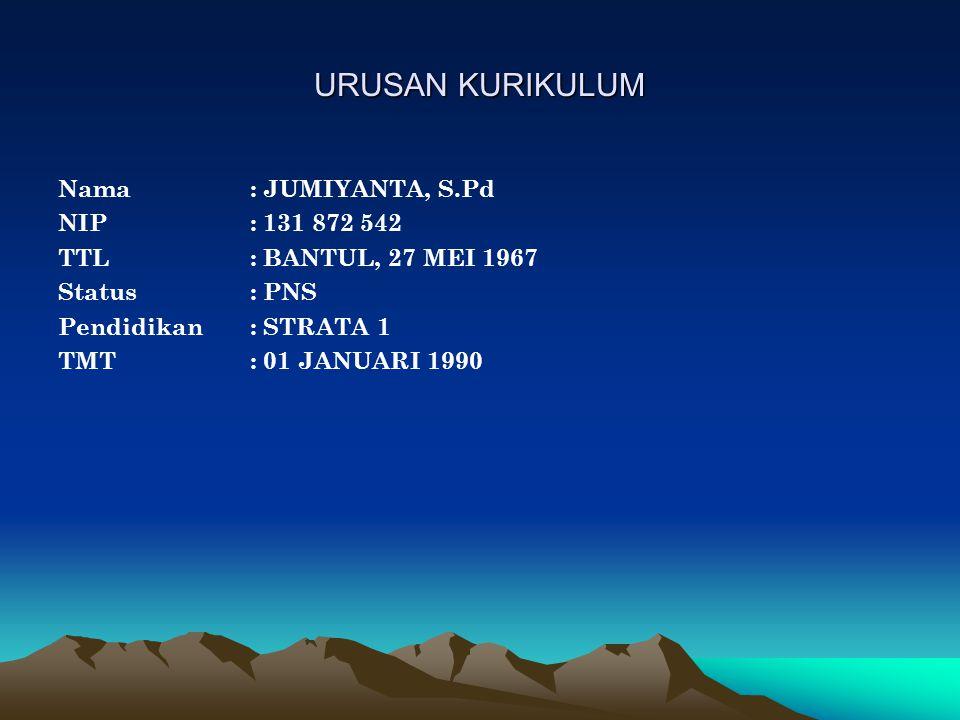 URUSAN KURIKULUM Nama: JUMIYANTA, S.Pd NIP: 131 872 542 TTL: BANTUL, 27 MEI 1967 Status: PNS Pendidikan: STRATA 1 TMT: 01 JANUARI 1990