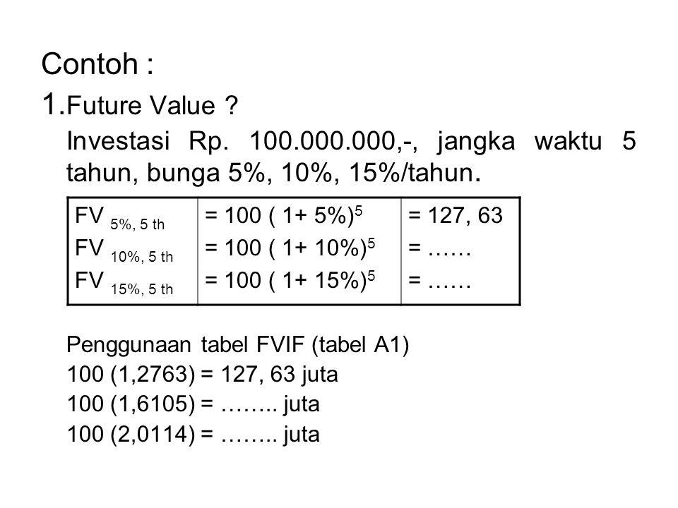 Contoh : 1.Future Value . Investasi Rp.