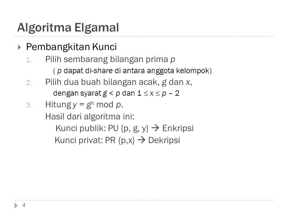 Algoritma Elgamal  Pembangkitan Kunci 1. Pilih sembarang bilangan prima p ( p dapat di-share di antara anggota kelompok) 2. Pilih dua buah bilangan a