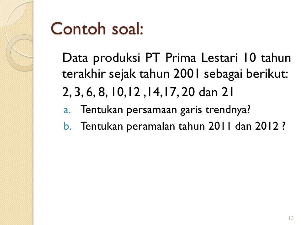 Contoh soal: Data produksi PT Prima Lestari 10 tahun terakhir sejak tahun 2001 sebagai berikut: 2, 3, 6, 8, 10,12,14,17, 20 dan 21 a.Tentukan persamaan garis trendnya.