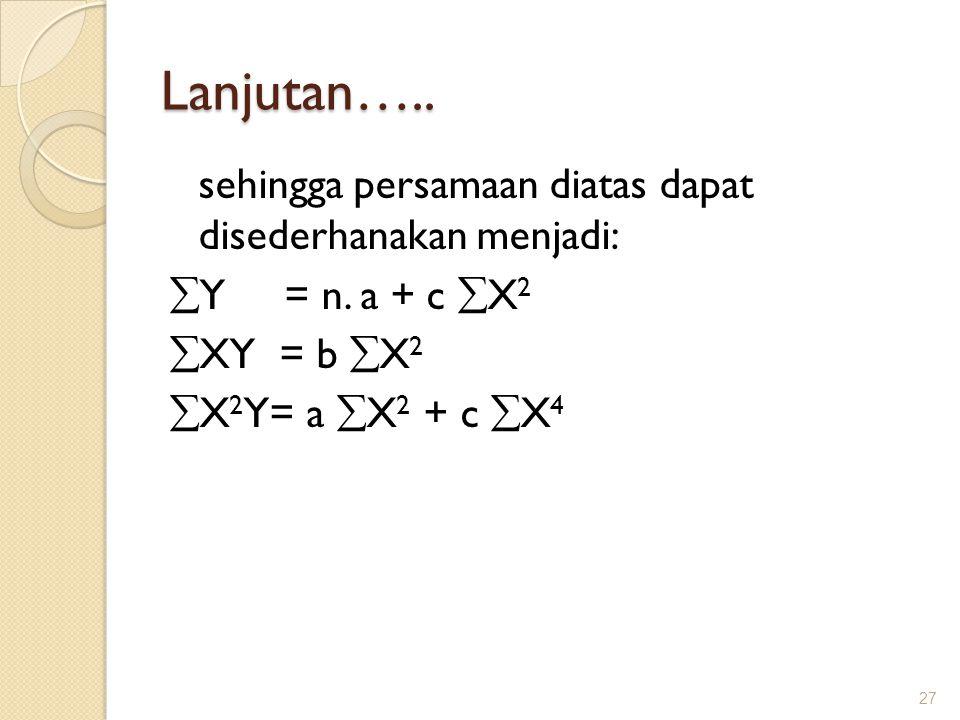 Lanjutan…..sehingga persamaan diatas dapat disederhanakan menjadi:  Y = n.