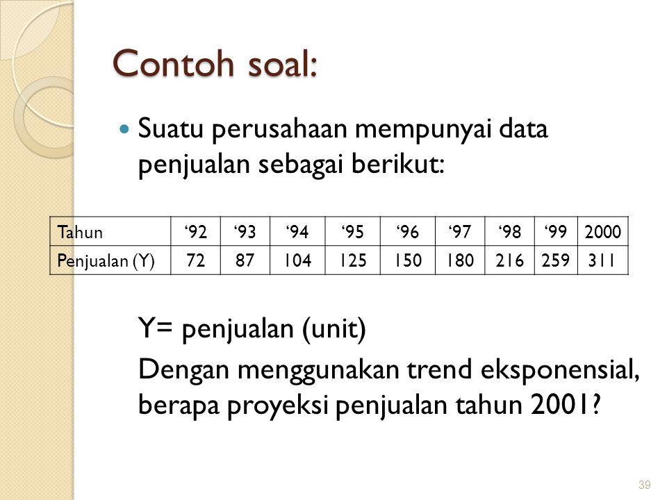 Contoh soal: Suatu perusahaan mempunyai data penjualan sebagai berikut: Y= penjualan (unit) Dengan menggunakan trend eksponensial, berapa proyeksi penjualan tahun 2001.