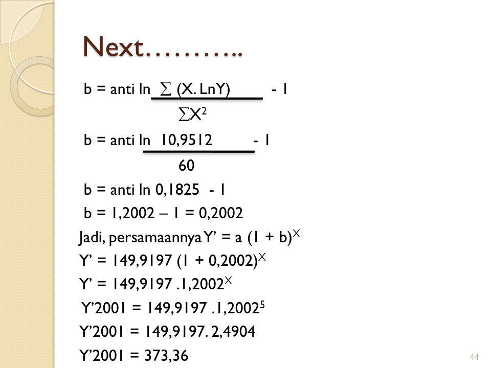 Next……….. b = anti ln  (X. LnY) - 1  X 2 b = anti ln 10,9512 - 1 60 b = anti ln 0,1825 - 1 b = 1,2002 – 1 = 0,2002 Jadi, persamaannya Y' = a (1 + b)