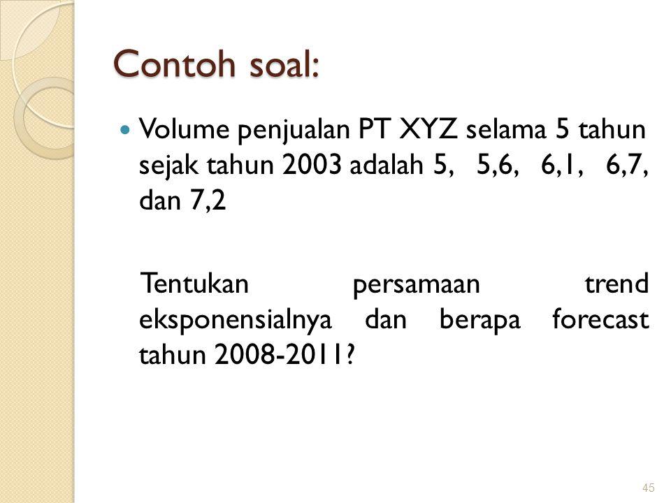 Contoh soal: Volume penjualan PT XYZ selama 5 tahun sejak tahun 2003 adalah 5, 5,6, 6,1, 6,7, dan 7,2 Tentukan persamaan trend eksponensialnya dan berapa forecast tahun 2008-2011.