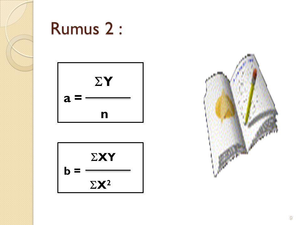 Rumus 2 : Y Y a = n 9  XY b =  X 2