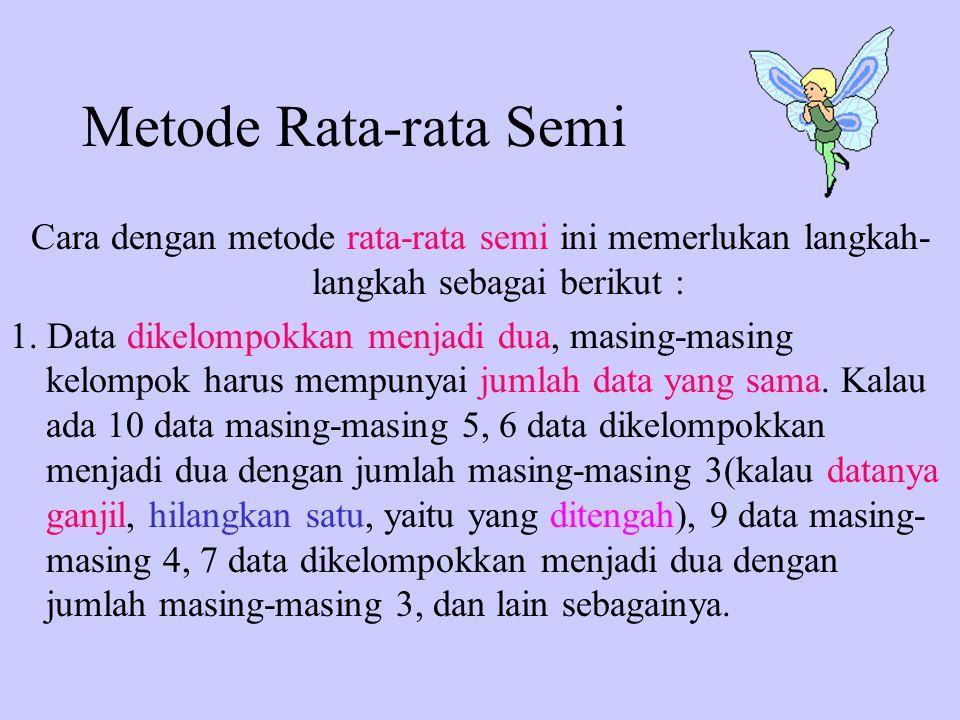 Metode Rata-rata Semi Cara dengan metode rata-rata semi ini memerlukan langkah- langkah sebagai berikut : 1. Data dikelompokkan menjadi dua, masing-ma