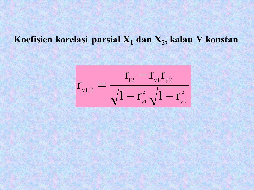 Koefisien korelasi parsial X 1 dan X 2, kalau Y konstan