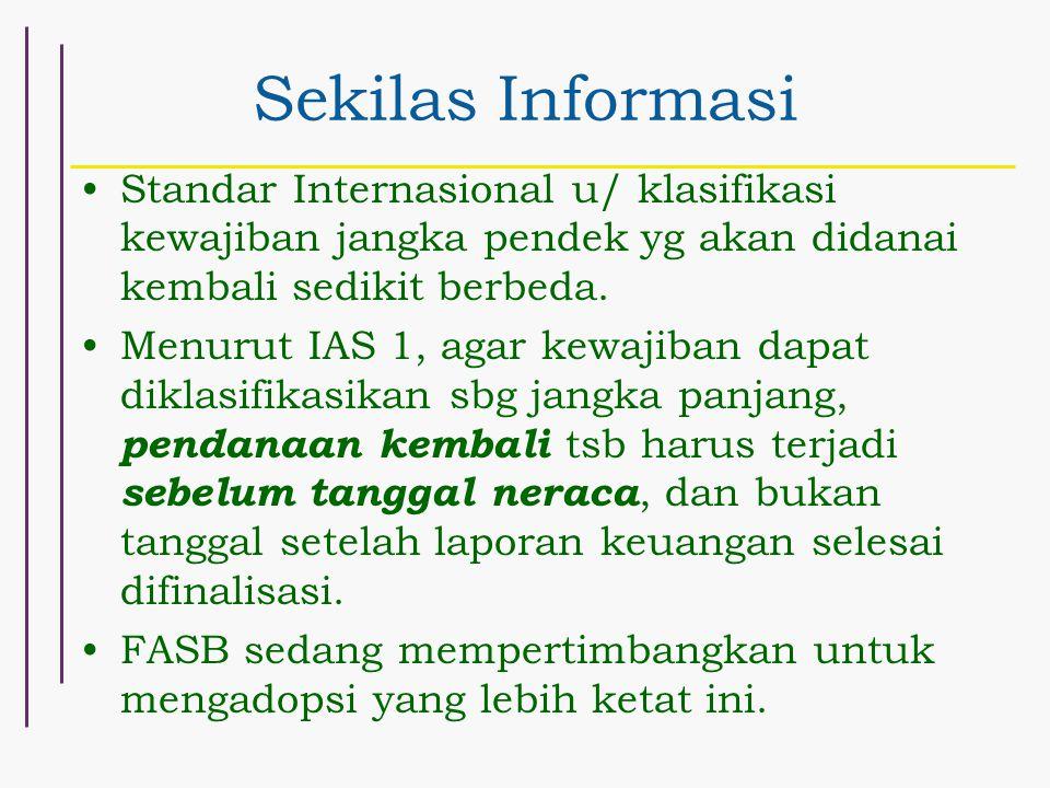 Sekilas Informasi Standar Internasional u/ klasifikasi kewajiban jangka pendek yg akan didanai kembali sedikit berbeda. Menurut IAS 1, agar kewajiban