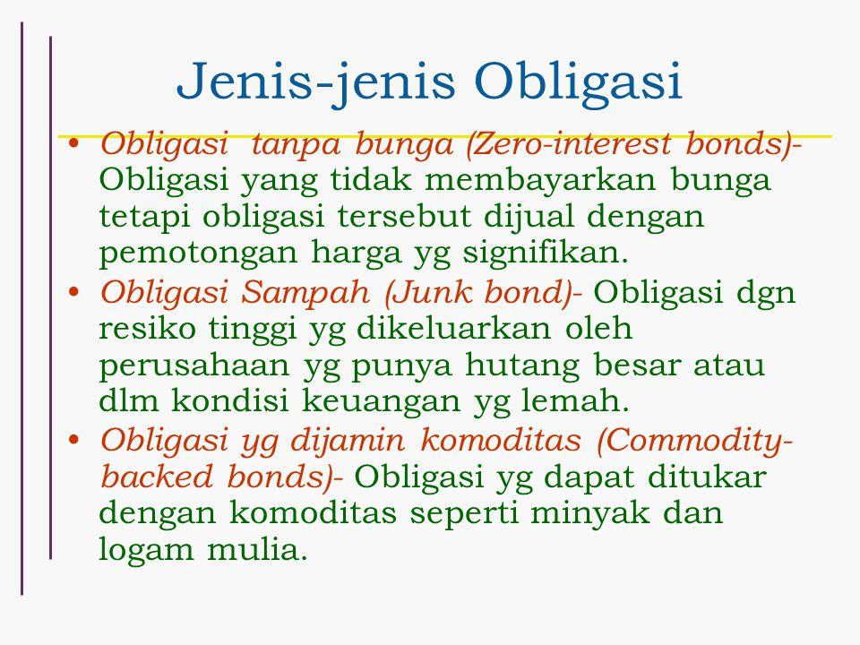 Jenis-jenis Obligasi Obligasi tanpa bunga (Zero-interest bonds)- Obligasi yang tidak membayarkan bunga tetapi obligasi tersebut dijual dengan pemotong
