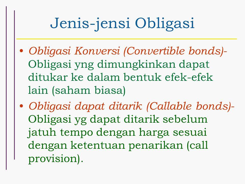 Jenis-jensi Obligasi Obligasi Konversi (Convertible bonds)- Obligasi yng dimungkinkan dapat ditukar ke dalam bentuk efek-efek lain (saham biasa) Oblig