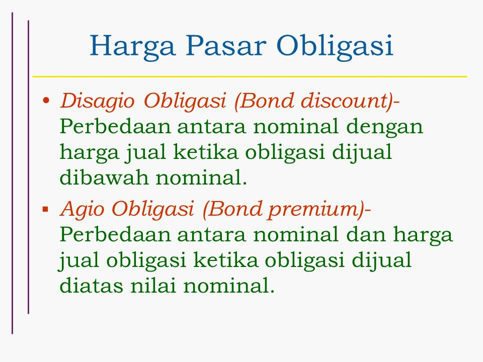 Harga Pasar Obligasi Disagio Obligasi (Bond discount)- Perbedaan antara nominal dengan harga jual ketika obligasi dijual dibawah nominal.  Agio Oblig