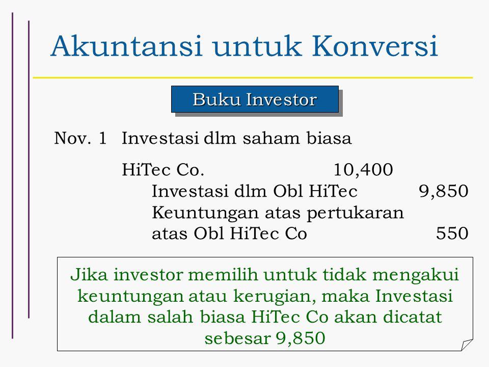 Akuntansi untuk Konversi Buku Investor Nov. 1Investasi dlm saham biasa HiTec Co.10,400 Investasi dlm Obl HiTec9,850 Keuntungan atas pertukaran atas Ob