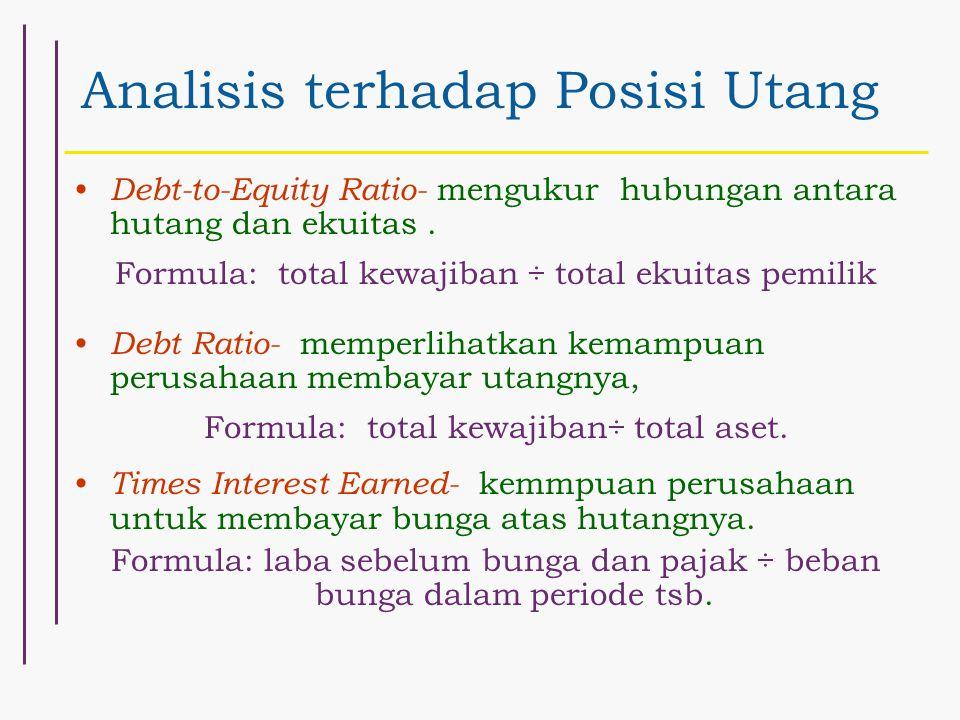 Analisis terhadap Posisi Utang Debt-to-Equity Ratio- mengukur hubungan antara hutang dan ekuitas. Formula: total kewajiban ÷ total ekuitas pemilik Deb