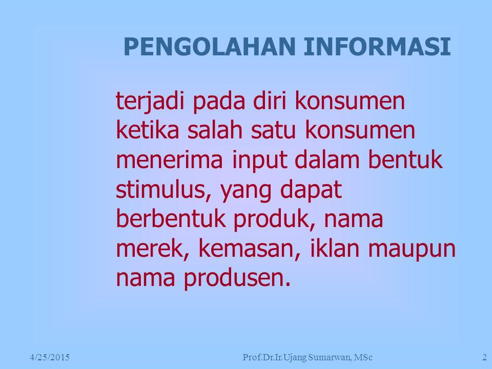 4/25/2015Prof.Dr.Ir.Ujang Sumarwan, MSc 2 terjadi pada diri konsumen ketika salah satu konsumen menerima input dalam bentuk stimulus, yang dapat berbentuk produk, nama merek, kemasan, iklan maupun nama produsen.