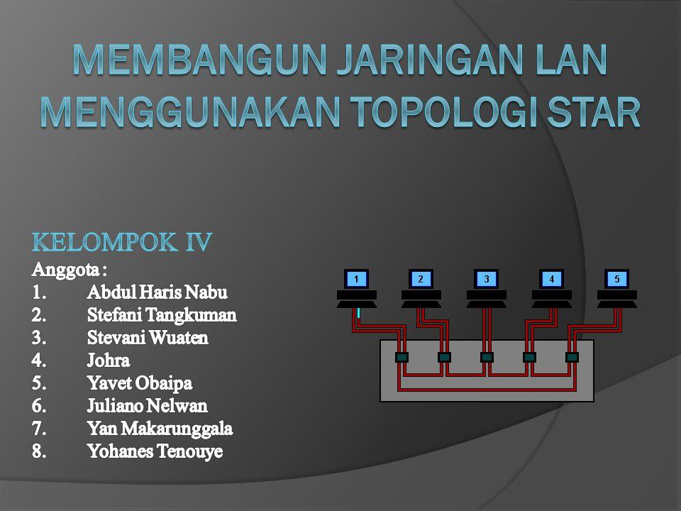PENGERTIAN Topologi adalah Cara / Metode yang digunakan untuk menghubungkan antara komputer yang satu dengan komputer yang lain ataupun dari Server ke PC sehingga membentuk sebuah jaringan.