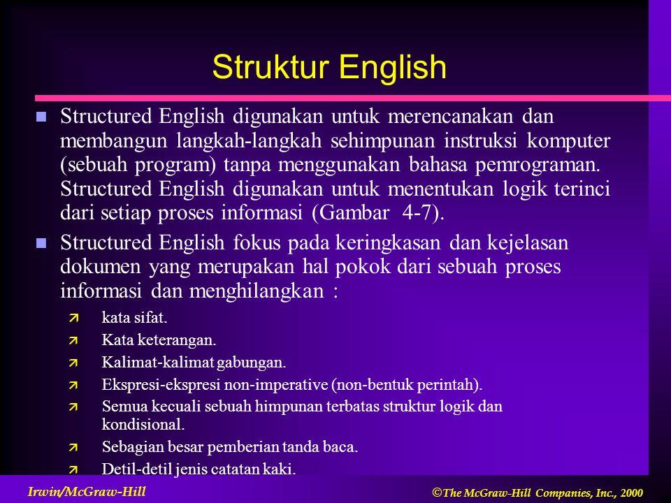  The McGraw-Hill Companies, Inc., 2000 Irwin/McGraw-Hill Struktur English n Structured English digunakan untuk merencanakan dan membangun langkah-langkah sehimpunan instruksi komputer (sebuah program) tanpa menggunakan bahasa pemrograman.