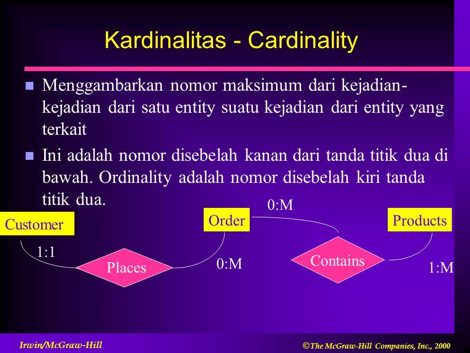  The McGraw-Hill Companies, Inc., 2000 Irwin/McGraw-Hill Kardinalitas - Cardinality n Menggambarkan nomor maksimum dari kejadian- kejadian dari satu entity suatu kejadian dari entity yang terkait n Ini adalah nomor disebelah kanan dari tanda titik dua di bawah.