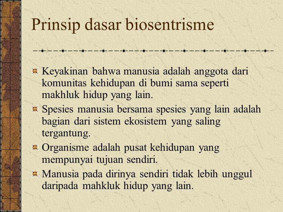 Prinsip dasar biosentrisme Keyakinan bahwa manusia adalah anggota dari komunitas kehidupan di bumi sama seperti makhluk hidup yang lain. Spesies manus