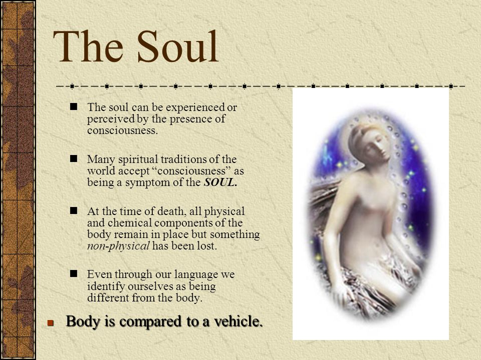 "The Soul The soul can be experienced or perceived by the presence of consciousness. Many spiritual traditions of the world accept ""consciousness"" as b"