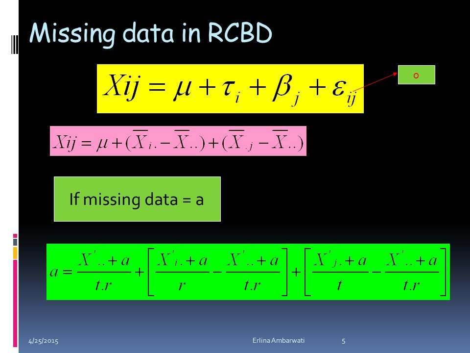 Missing data in RCBD 0 If missing data = a 4/25/2015 5 Erlina Ambarwati